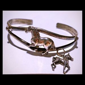 Sterling silver horse cuff bracelet with pendant